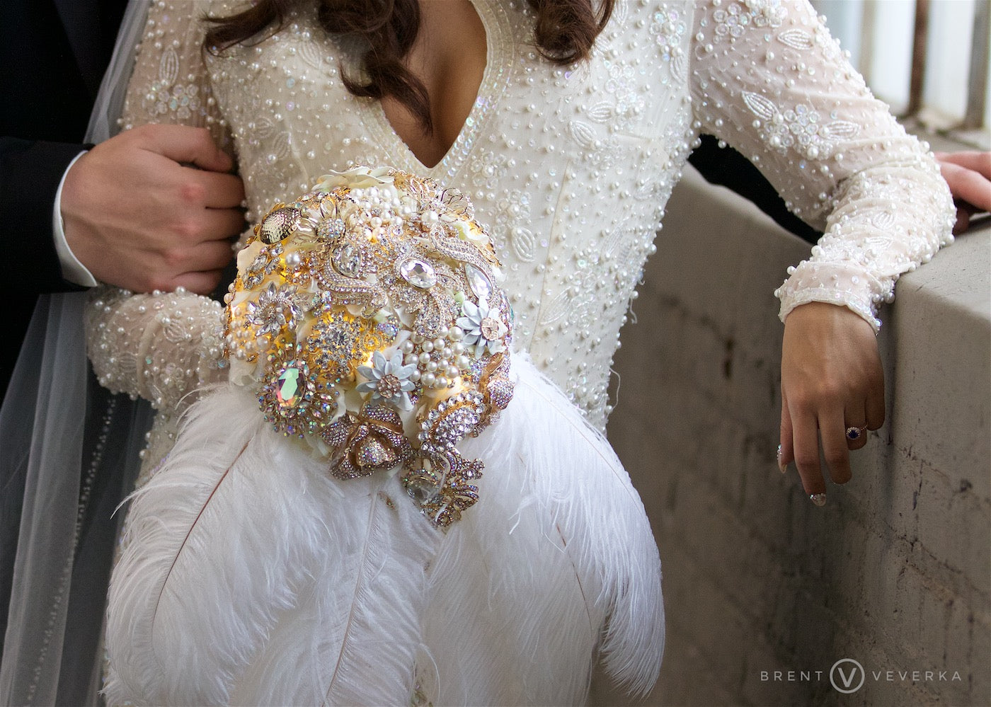 Bride's Vintage Brooch Bouquet | Glam Speakeasy Wedding | Brent Veverka Media