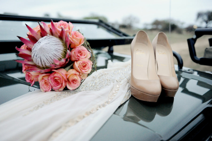 Bride's Wedding Dress, Bouquet and Shoes | African Safari Wedding | Sarah Marie Photos