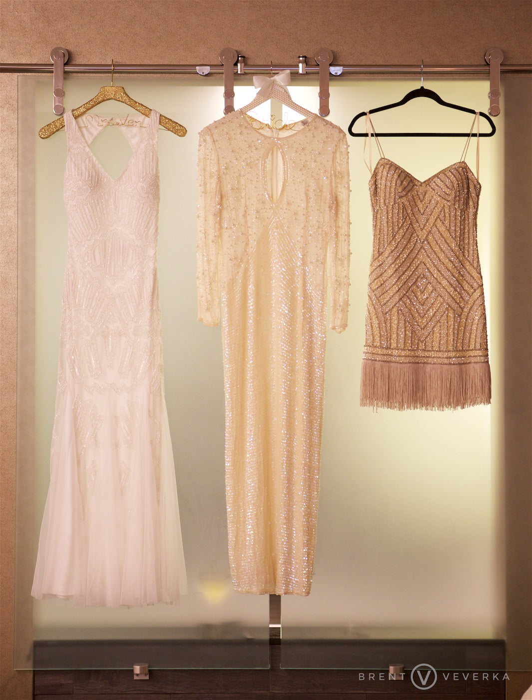 Bride's Three Dresses  | Glam Speakeasy Wedding | Brent Veverka Media