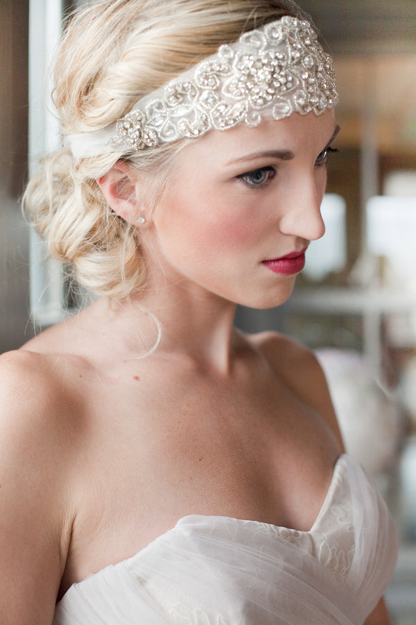 Closeup of Bride's Jeweled Headpiece |  Tana Photography LLC