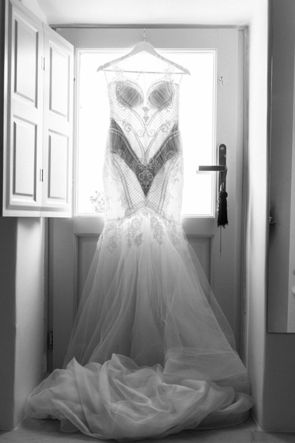 Bride's Lace Wedding Gown | Santorini Destination Wedding | Vasilis Lagios Photography