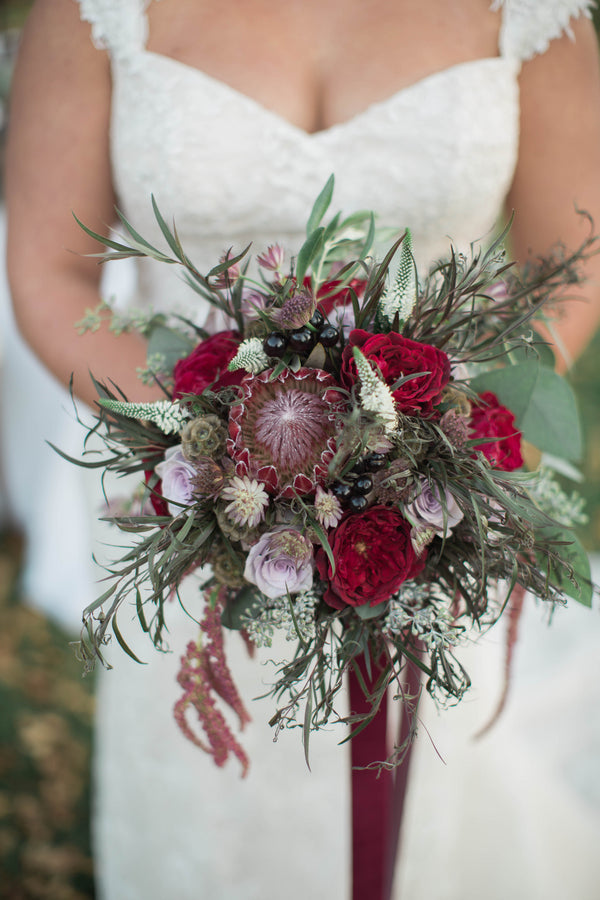 Burgundy Bridal Bouquet | Wine Inspired Fall Wedding | Brooke Ellen Photography