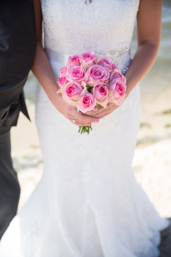 Bride's Pink Rose Bouquet | Nautical Wedding On A Boat | Jeramie Lu Photography