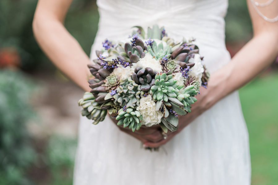 Bride's Succulent Bouquet | Blissful Garden Wedding Details | B. Jones Photography
