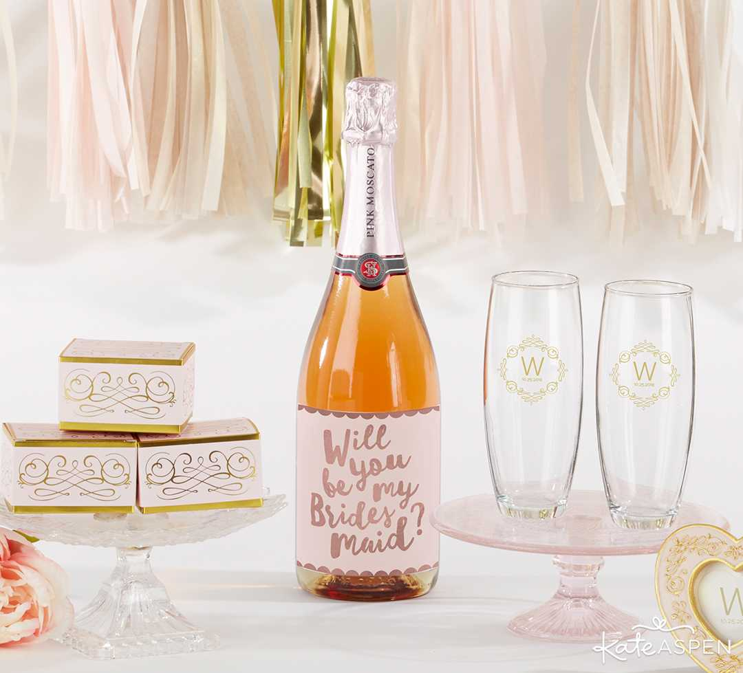Bride Party Proposal Wine Bottle Lable | Curate Your Own Bridesmaid Proposal Kit + A Giveaway | Kate Aspen