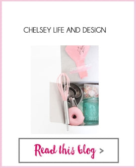 Bright Bold Design - Chelsey Mass - Pink Whisk, Measuring Spoons, Blue Votive