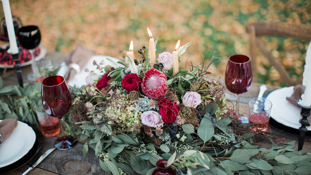 Marsala Floral Centerpiece | Wine Inspired Fall Wedding | Brooke Ellen Photography