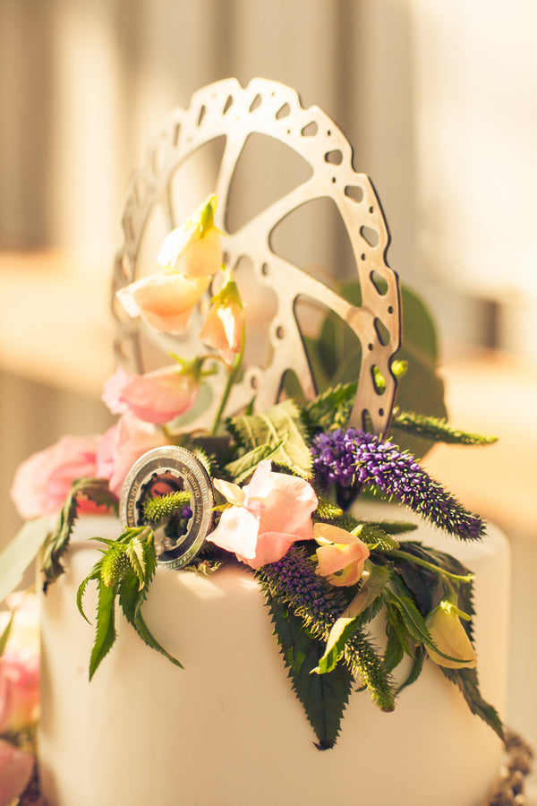 Bike Gear Cake Topper | Mountain Bike Industrial Themed Wedding Shoot | Lifestyle Photography