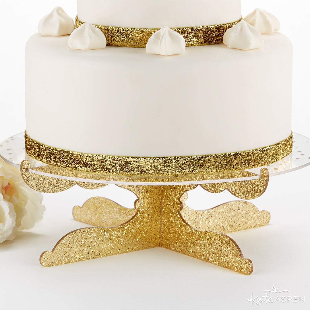 Gold Glitter Acrylic Cake Stand - Party Time | 10 Glittering Party Favors and Decorations For All Occassions | Kate Aspen