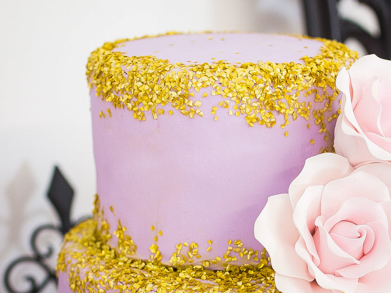 Purple and Gold Cake | Tutu Cute Valentine's Day Party | Stephanie Massaro Photography