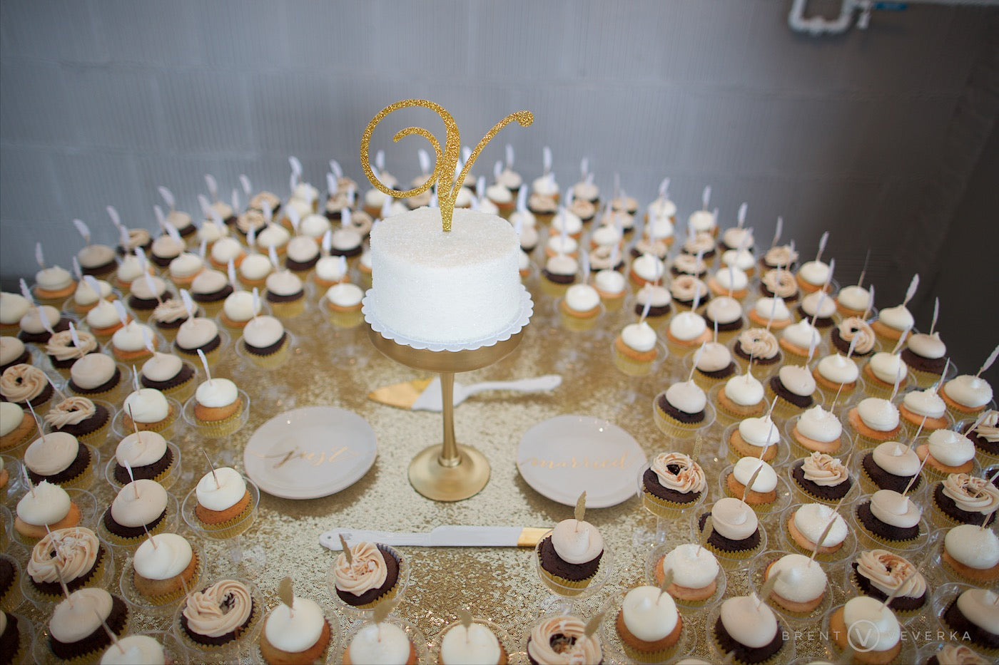 Cake and Cupcake Table | Glam Speakeasy Wedding | Brent Veverka Media