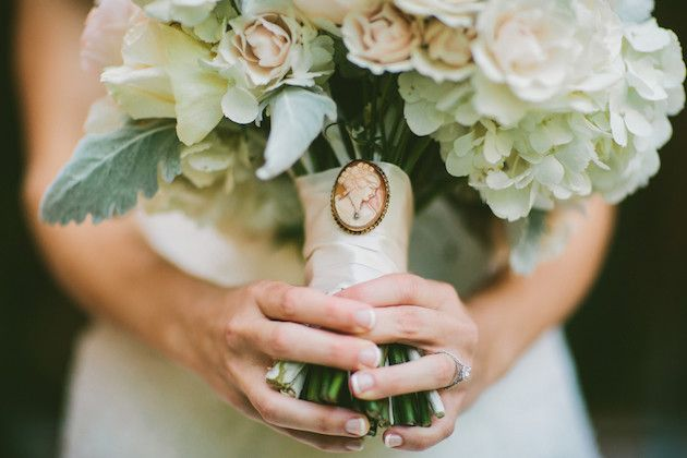 Cameo on Bride's Bouquet Let's Frolic Together Photography via Bridal Musings Wedding Blog