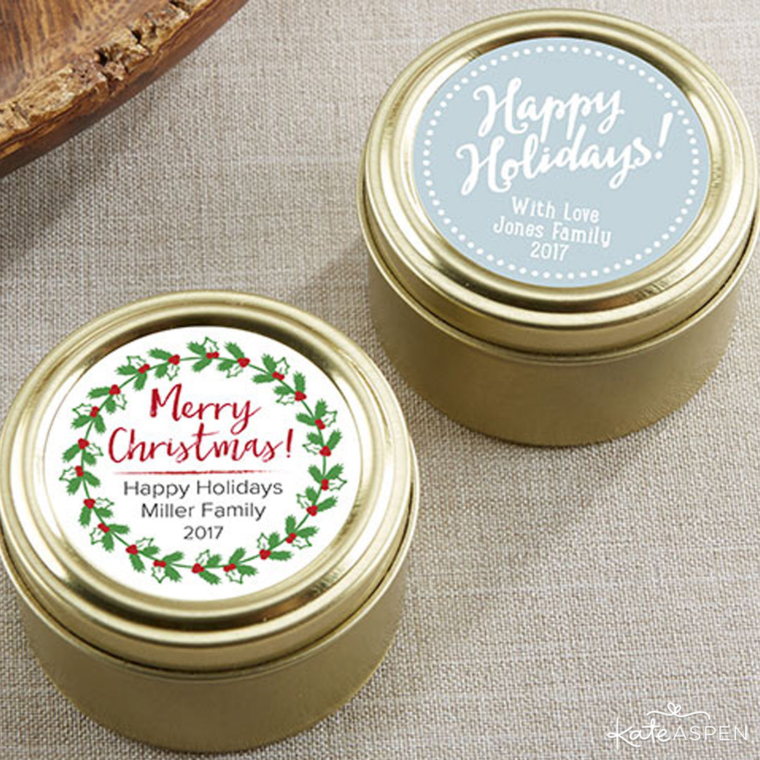 Personalized Gold Round Candy Tin - Holiday | Kate Aspen | Stocking Stuffers for the Holidays