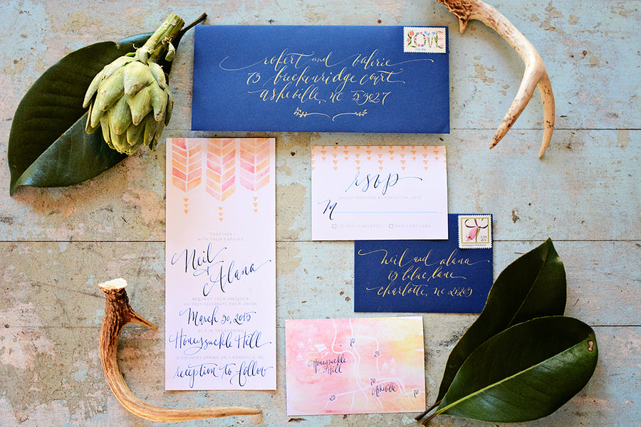 Bohemian Watercolor Wedding Invitation Suite | Catrina Earls Photography