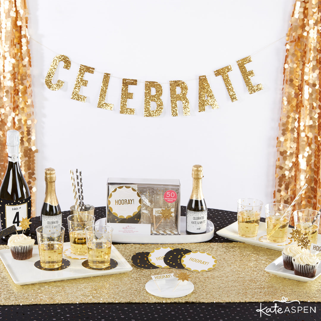 Celebrate 50 Piece Party in a Box | 10 Glittering Party Favors and Decorations For All Occasions | Kate Aspen