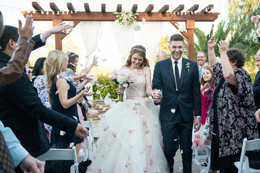 Ceremony Exit | A Beautiful Blush Wedding | Kate Aspen