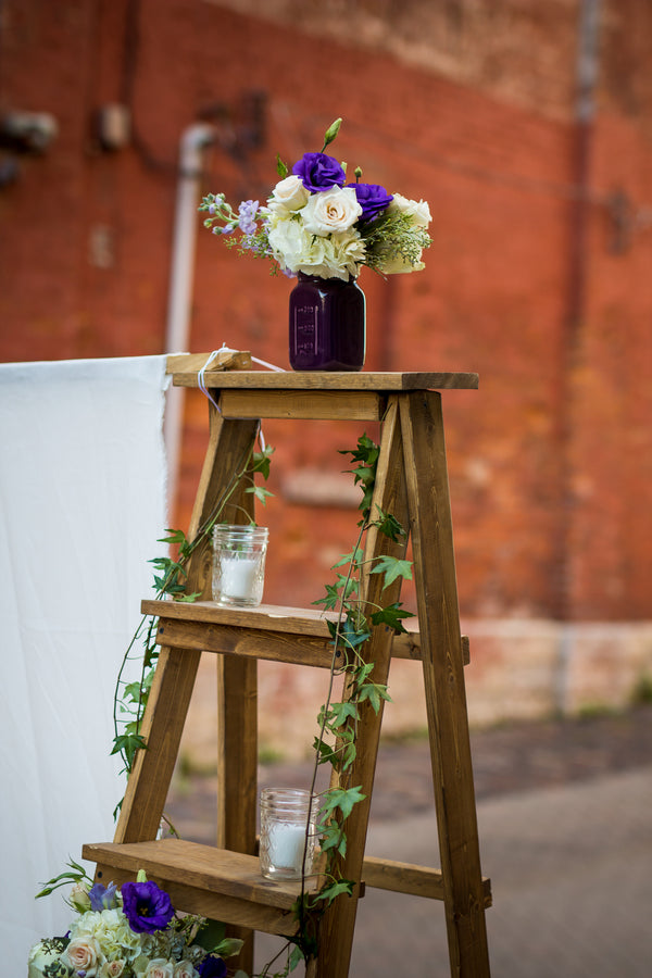 Ladder Decor at Ceremony | Purple Industrial Themed Wedding | Asteria Photography