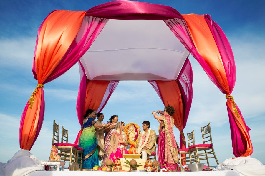 Pink and Orange Mandap |  Indian Fusion Wedding | Adrienne Fletcher Photography