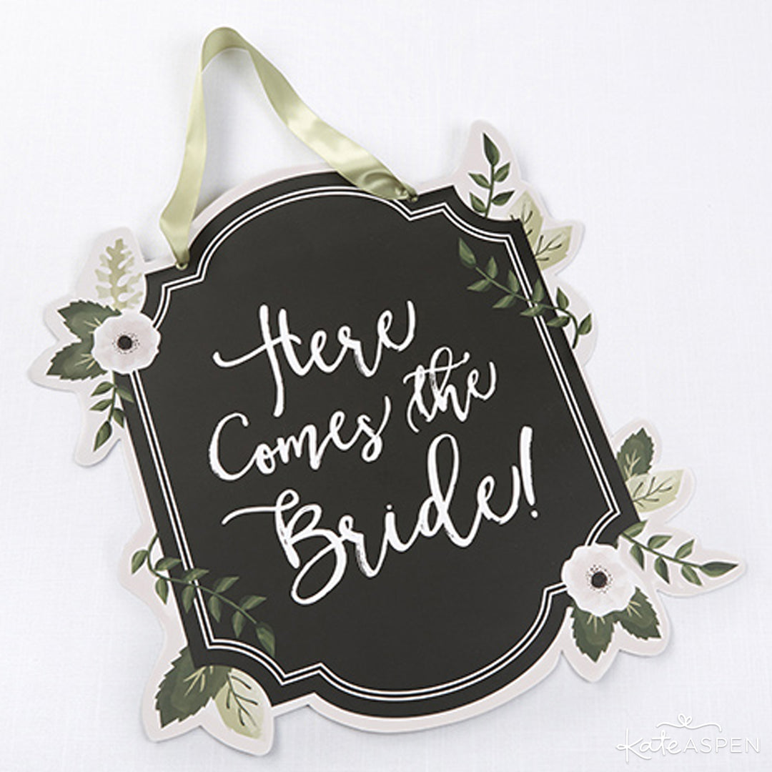 Here Comes The Bride Chalk Sign | Kate Aspen