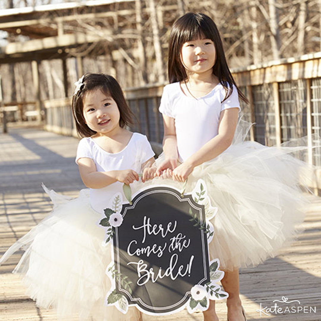Flower Girls | Chalk Here Comes The Bride Sign | Kate Aspen