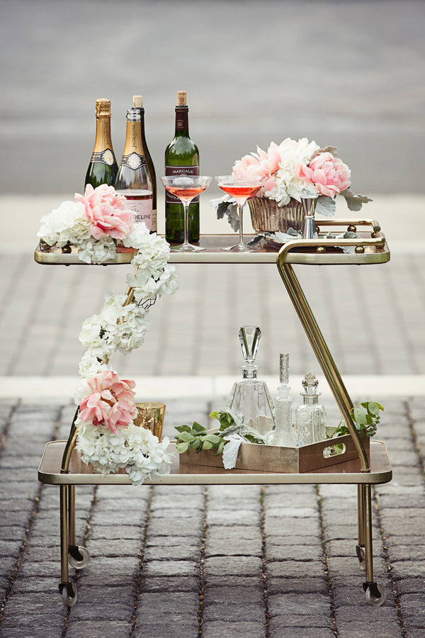 Champagne Bar Cart | Garden Wedding Ideas | Jaylim Studio |Kate Aspen