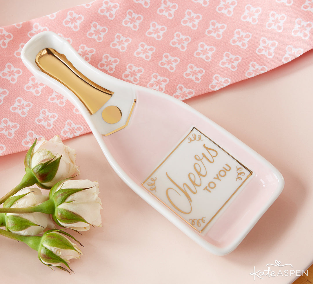 Pink Champagne Trinket Dish | A Stocking Stuffer Holiday Gift Guide | Kate Aspen