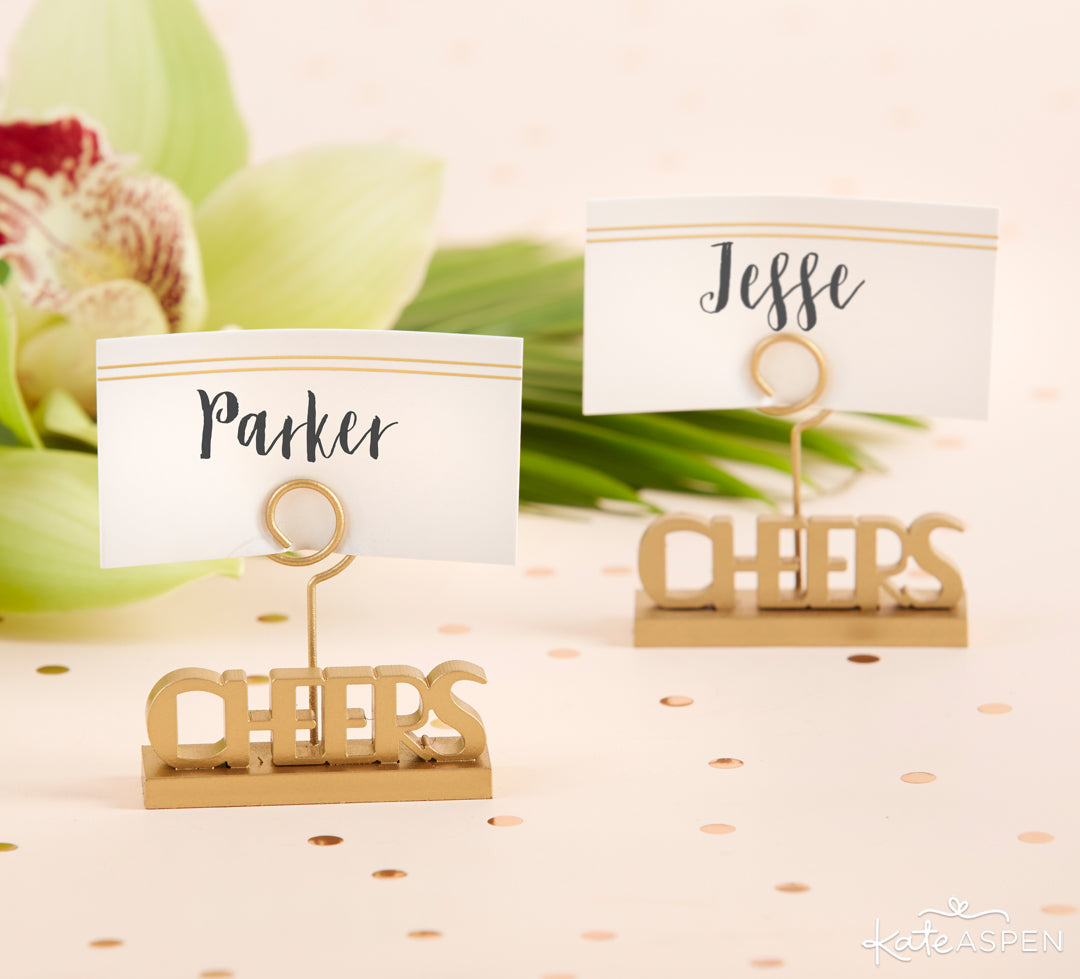 Cheers Place Card Holder | The Perfect Birthday Party For Her | Kate Aspen