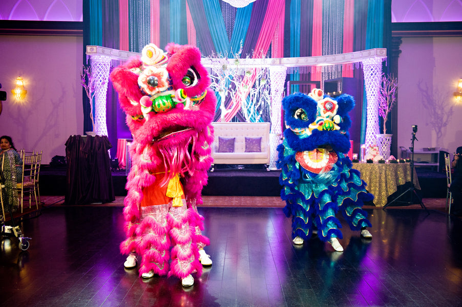 Chinese Dragon Dancers | Hindu Chinese Wedding | HRM Photography