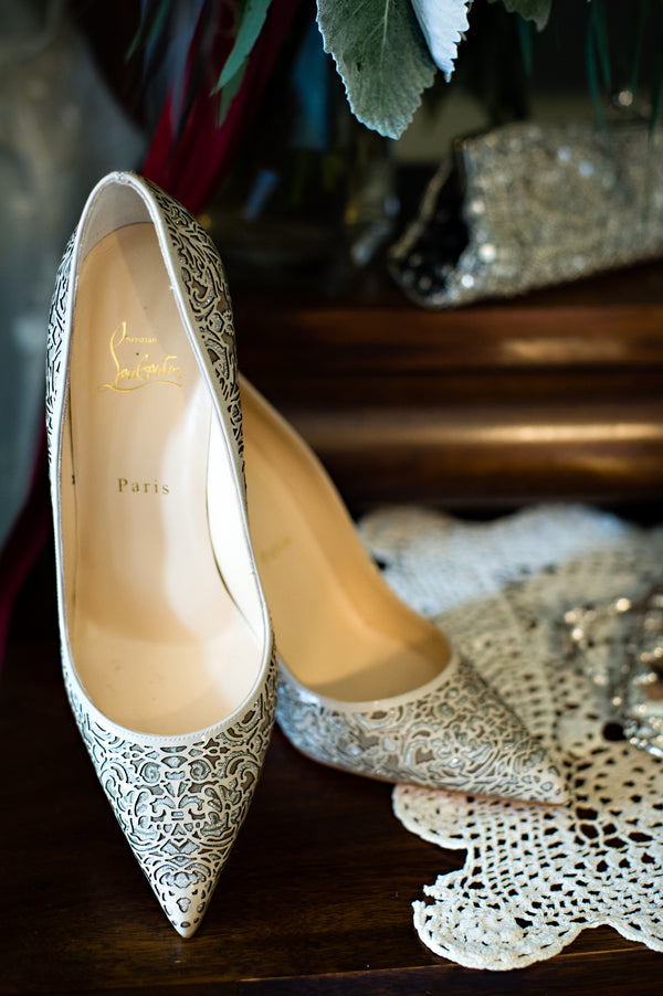 Christian Louboutin Wedding Heels | Vintage Details for a Downton Abbey Inspired Wedding | HRM Photography