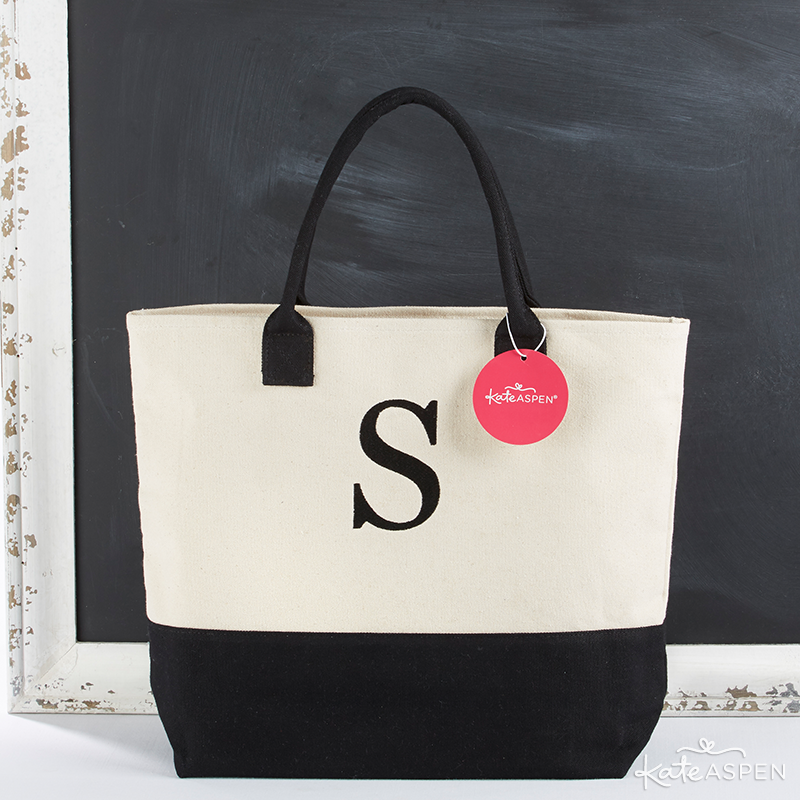 Black And White Monogrammed Tote | KateAspen.com