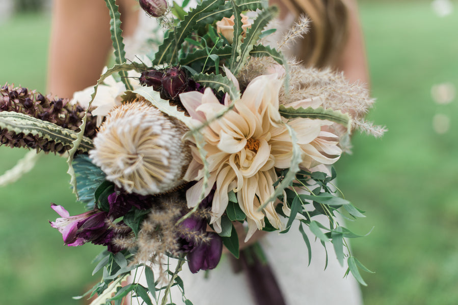 Closeup Bride's Purple Bouquet | Boho Wedding Inspiration | B. Jones Photography