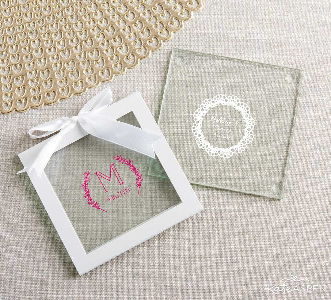 Personalized Glass Coaster | 10 Gift Ideas for Your Wedding Party | Kate Aspen
