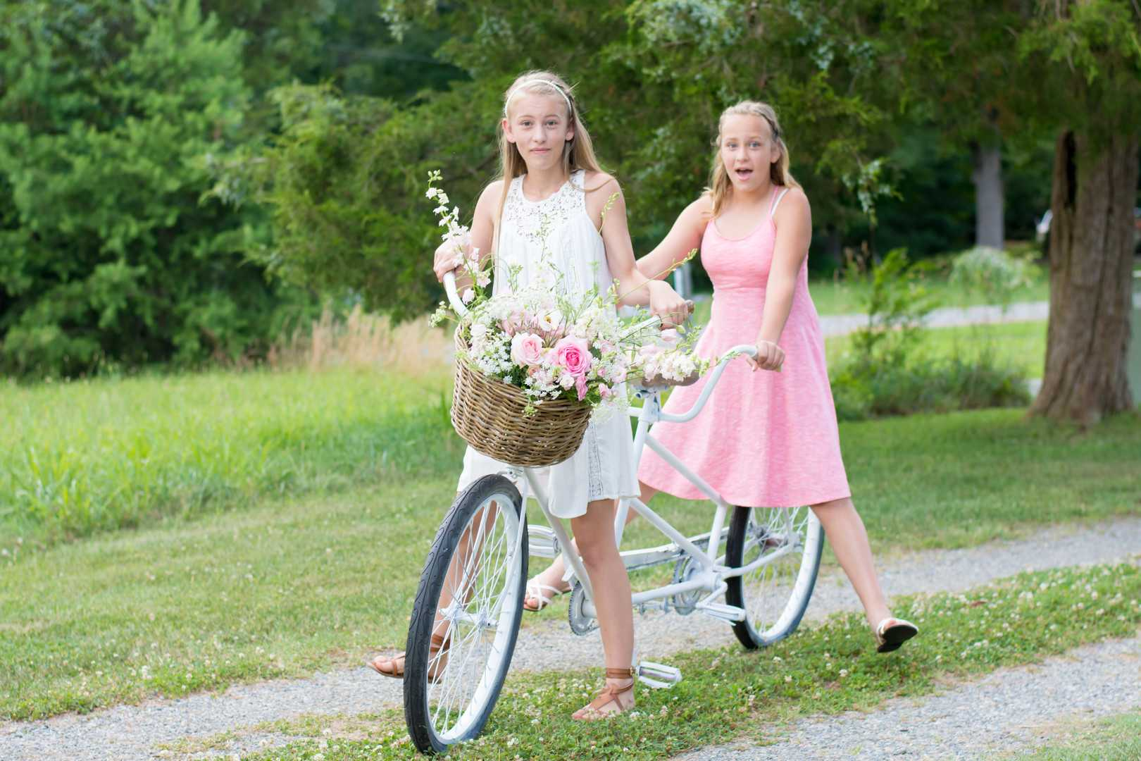 Two Girls on a Bike | A Lovely Garden Birthday Party | Kate Aspen