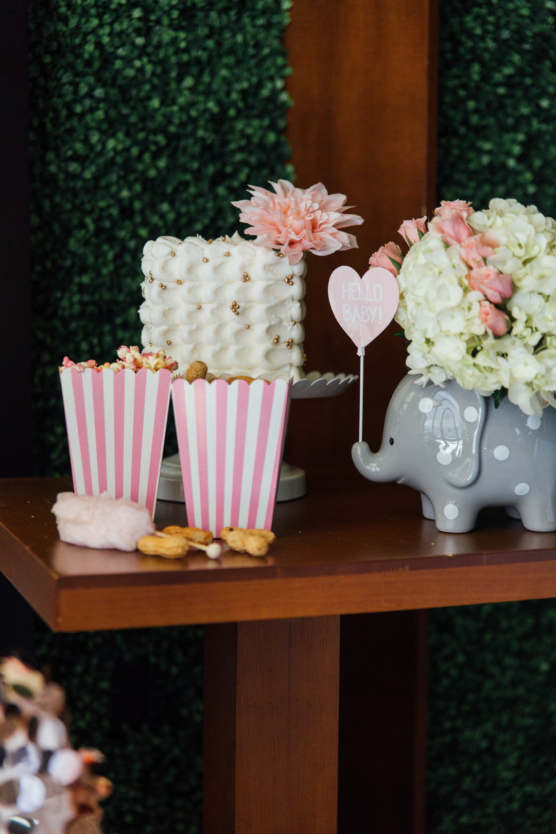 Popcorn Bucket Baby Shower Decorations | A Luxe Circus Baby Shower | Kate Aspen