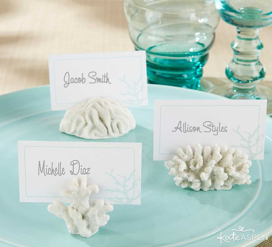 Coral Place Card Photo Holder | Must-Have Decor to Match Your Living Coral Wedding | Kate Aspen