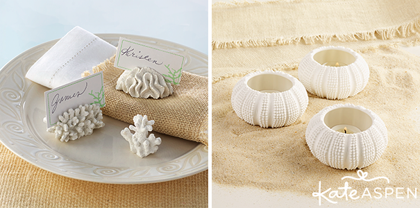 Coral Place Card Holders and Sea Urchin Tealight Votives - Kate Aspen