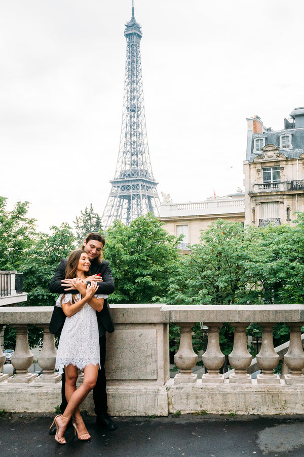 Couple Holding Each other By Eiffel Tower | 5 Unique and Adorable Engagements | Kate Aspen