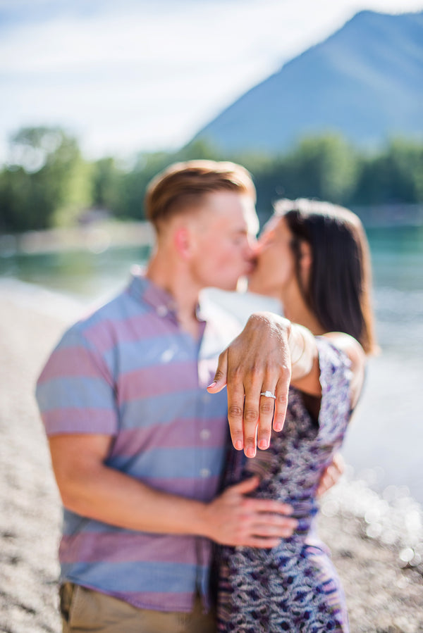 Couple Kissing and Showing off Engagement Ring | 5 Unique and Adorable Engagements | Kate Aspen