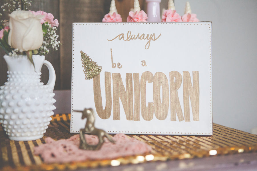 Shabby Chic Unicorn Birthday Party decor captured by Heather Lynn Photographie and styled by Mariah Rainier Style. Pretty party sweets by Turquoise & Pink. See the full party featured on the Kate Aspen blog!