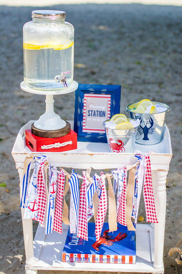 CrawDad Cookout Father's Day Party Beach Hand washing Station | Megan Long Photography