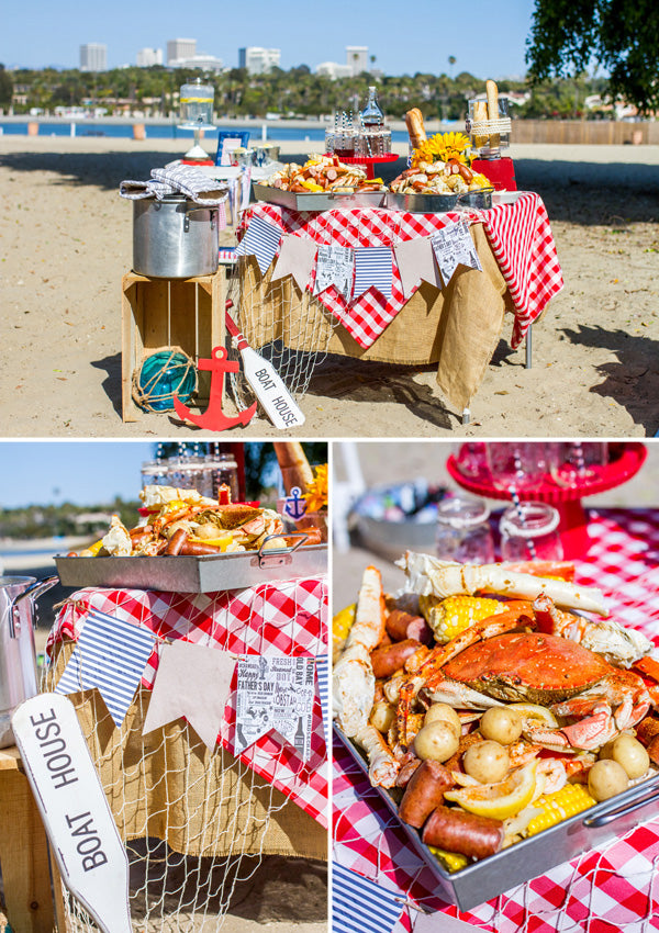 Crawfish boil Father's Day Party on the Beach | Megan Long Photography
