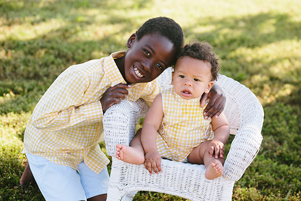 Brothers in matching yellow gingham outfits | Little Duckling Adoption Party by Sweet Georgia Sweet