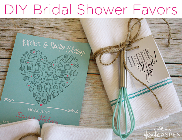 DIY Bridal Shower Whisk and Towel Favors | Kate Aspen