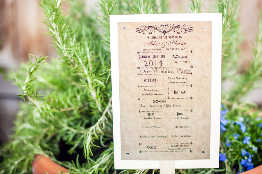 Summer Wedding Program Fan | Mark VanDonge Photography