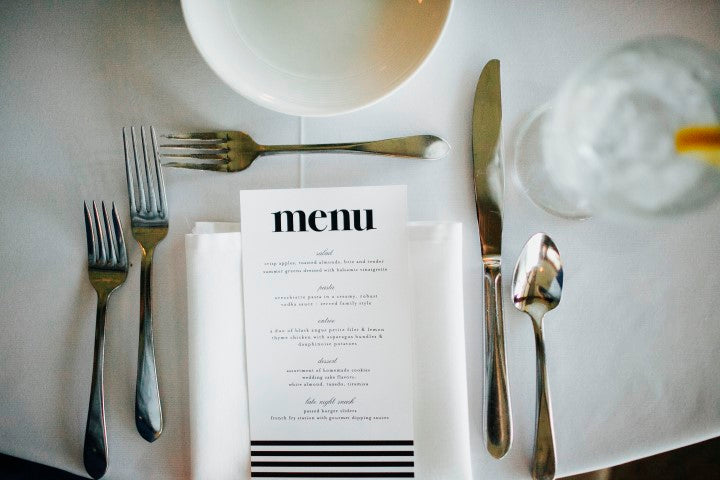 Black and white wedding menu | Derk's Works Photography