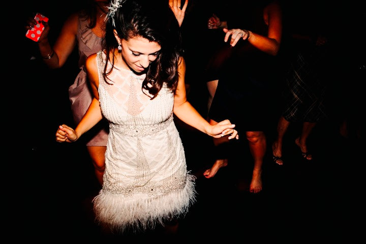 Bride in Wedding Reception Feather Dress | Derks Works Photography