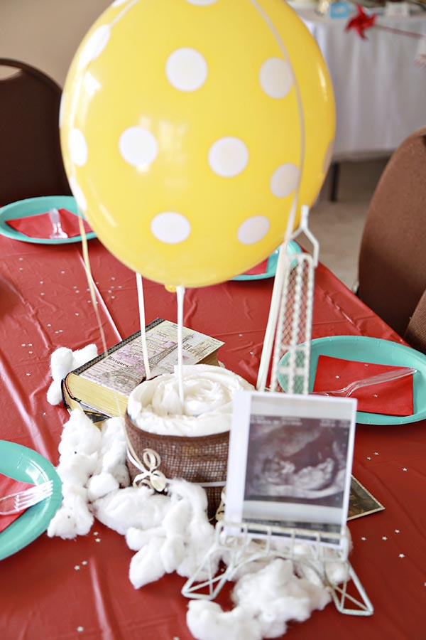 Diaper Hot Air Balloon Centerpiece for Baby Shower | BlovelyEvents