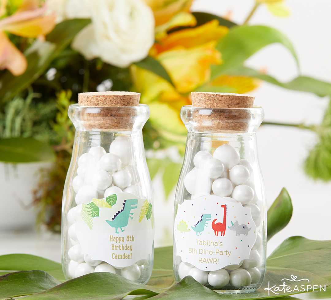 Milk Bottle Favor Jar Dino Party | A Roaring Dinosaur Birthday Party Set Up | Kate Aspen