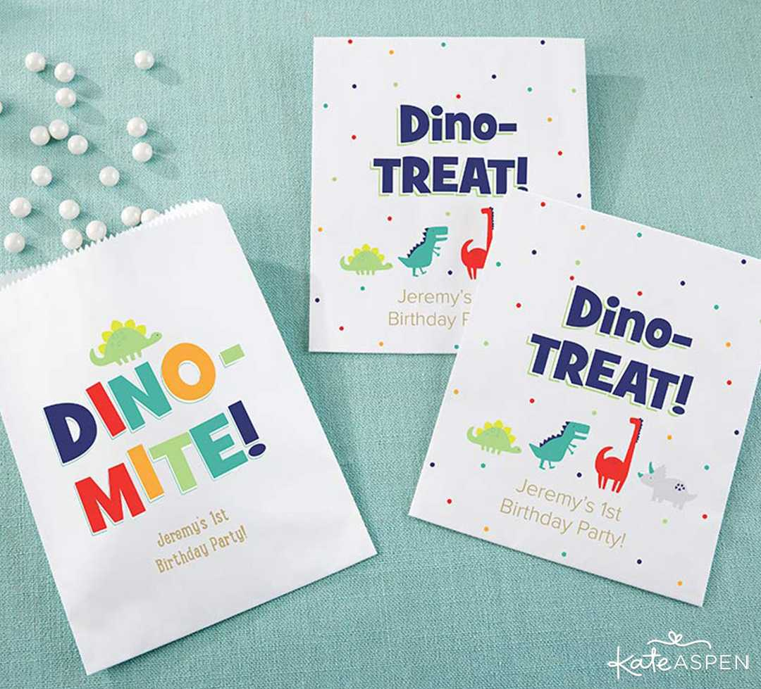 Goodie Bag Dino Party | A Roaring Dinosaur Birthday Party Set Up | Kate Aspen