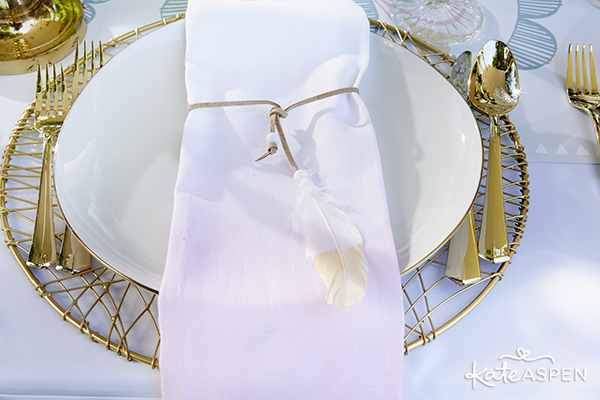Dip Dyed Napkin at Table Setting | Kate Aspen